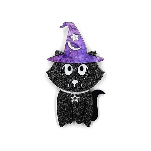 Alexander The Apprentice Halloween Cat Brooch By Tantalising Treasures