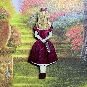Burgundy Stabby Alice Brooch By Tantalising Treasures Demented Alice