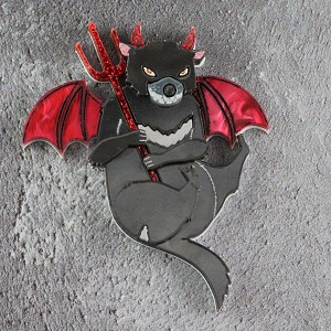Devilish Tasmanian Devil Brooch By Gory Dorky