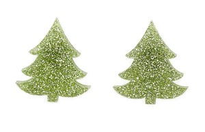 Light Green Glitter Christmas Tree Earrings