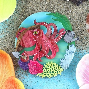 Octopus Gardening Brooch By Gory Dorky
