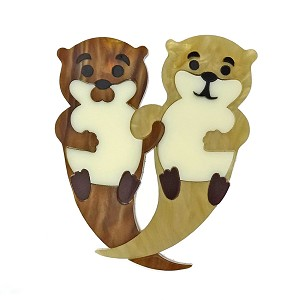 Otter Friends Brooch By Tantalising Treasures