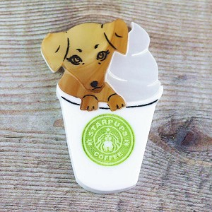 Pup-kin Spice Latte Brooch By Kimchi And Coconut In Gold