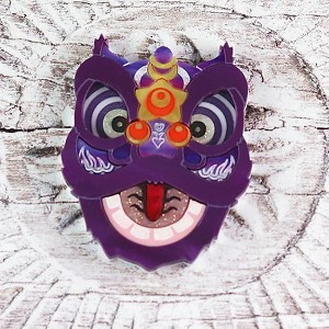 Lion Dance Brooch In Purple By Gory Dorky