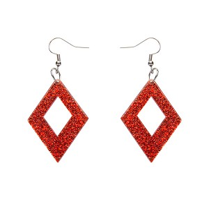 Red Glitter Diamond Drop Earrings By Erstwilder