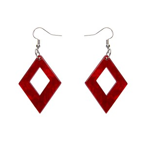 Red Ripple Diamond Drop Earrings By Erstwilder