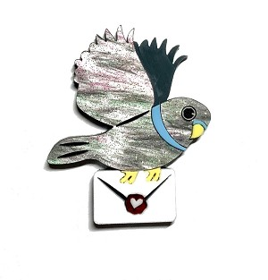 Sending My Love Pigeon Brooch By Tantalising Treasures