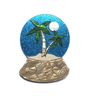 Tiki Globe Brooch By Tantalising Treasures - Last One