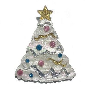 White Christmas Tree Pin By Tantalising Treasures - Last One