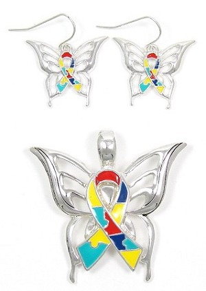 Autism Butterfly Pendant And Earrings Set