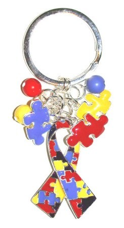 Charmed Autism Ribbon Keychain