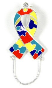Autism Ribbon Eyeglass Or Badge Holder Pin