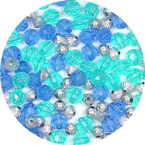 Blue Christmas Bead Mix