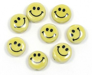 Ceramic Yellow Happy Face Beads
