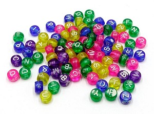 Plastic Round Color Letter Beads