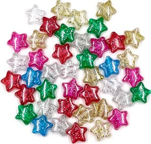 Glitter Star Pony Bead Mix 50 Pieces