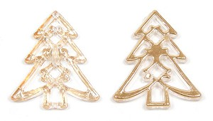Jumbo Gold And Clear Christmas Tree Bead