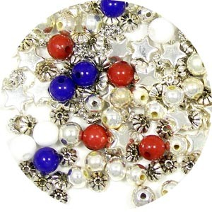 Red White N Blue Bead Mix