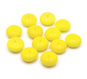 Vintage 15mm Yellow Rondelle Beads German NOS 12 Pieces