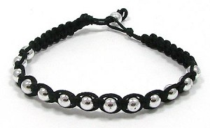 Black Macrame And Silver Bead Bracelet
