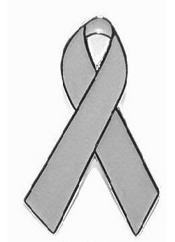 Gray Awareness Ribbon Tie Tack Pin