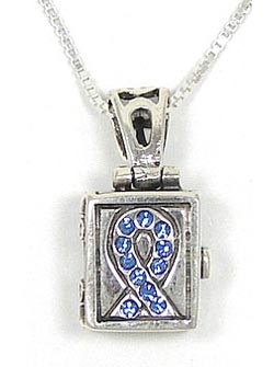 Sterling Light Blue Crystal Ribbon Prayer Box Necklace