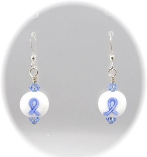 Light Blue Ribbon Lampwork Earrings