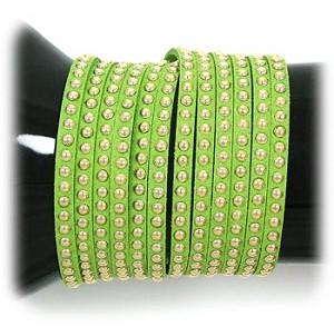 Lime Green Studded Wrap Bracelet