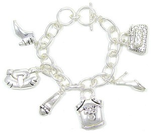 All Silver Shoe And Purse Bracelets