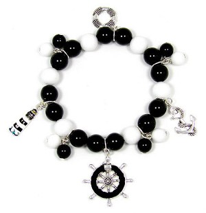 Black And White Nautical Charm Bracelet