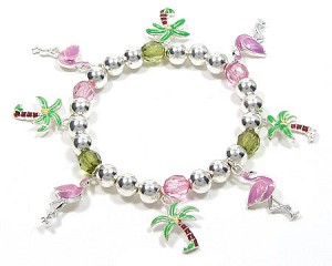 Flamingos And Palm Trees Charm Bracelet