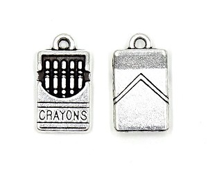 Silver Box Of Crayons Charm Doublesided