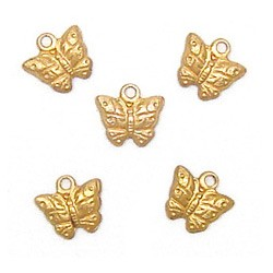 Micro Butterfly Charm Brass