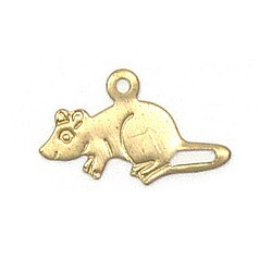 Mouse Charm Brass