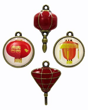 Set Of Four Chinese Lantern Charms