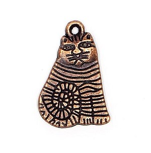 Artsy Cat Charm Copper Plated