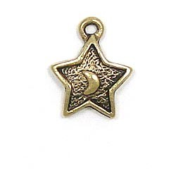 Star With Moon Charm Gold Plated