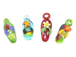 Lampwork Glass Flip Flop Charms