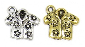 Aloha Shirt Charm Silver Or Gold Plated