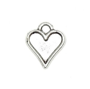Small Silver Heart Charm Fillable Add Your Own Colors
