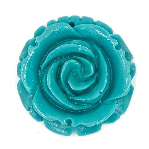 Large Resin Turquoise Rose Pendant
