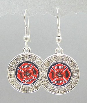 Crystal Studded Fire Department Earrings