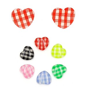 Gingham Heart Resin Earrings Metal Free For Sensitive Ears