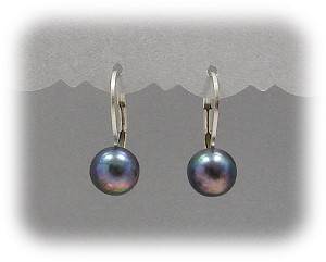 8mm Peacock Freshwater Pearl Sterling Leverbacks