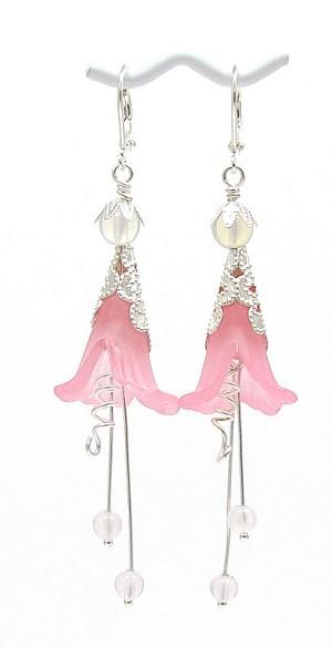 Pink rose fairy flower earrings mightylinksfo