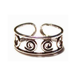 Open Double Spiral Toe Ring