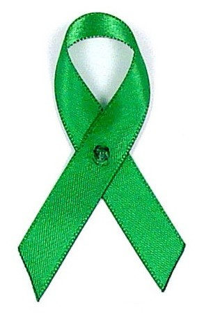 Green Satin Awareness Ribbon Pins