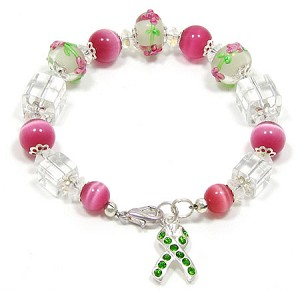 Lime Awareness Ribbon Floral Lampwork Bracelet