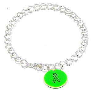 Lime Custom Colors Of Support Round Charm Bracelet