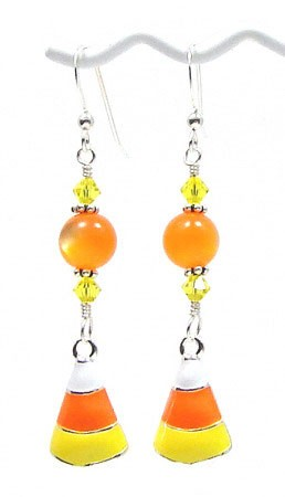 Candy Corns And Crystals Earrings
